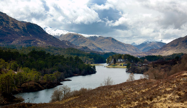 Glen Affric and Kintail mountains from Am Meallan