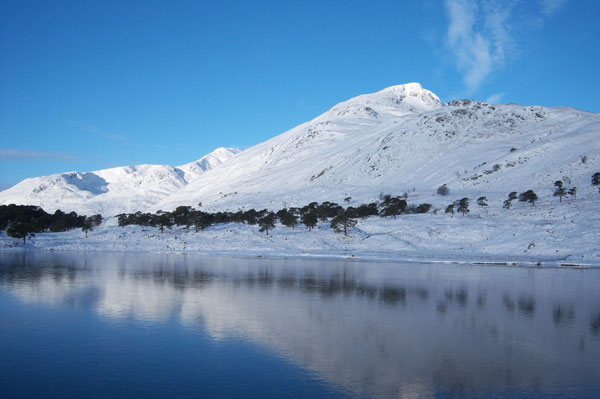 Loch Affric and surrounding mountains in winter